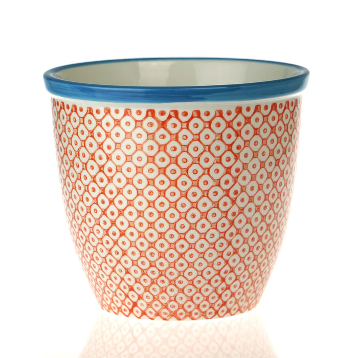 Nicola Spring Patterned Garden Plant Pot - Orange and Blue