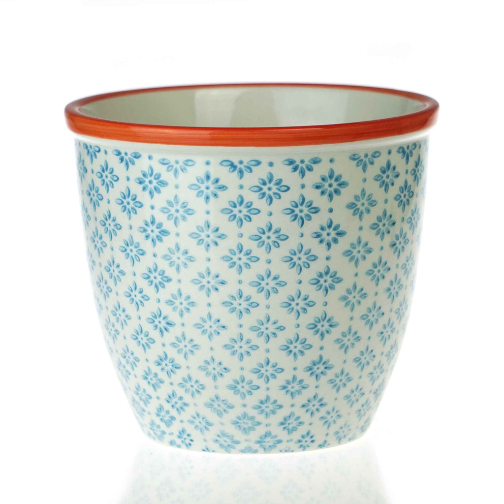 Nicola Spring Patterned Garden Plant Pot - Blue and Orange