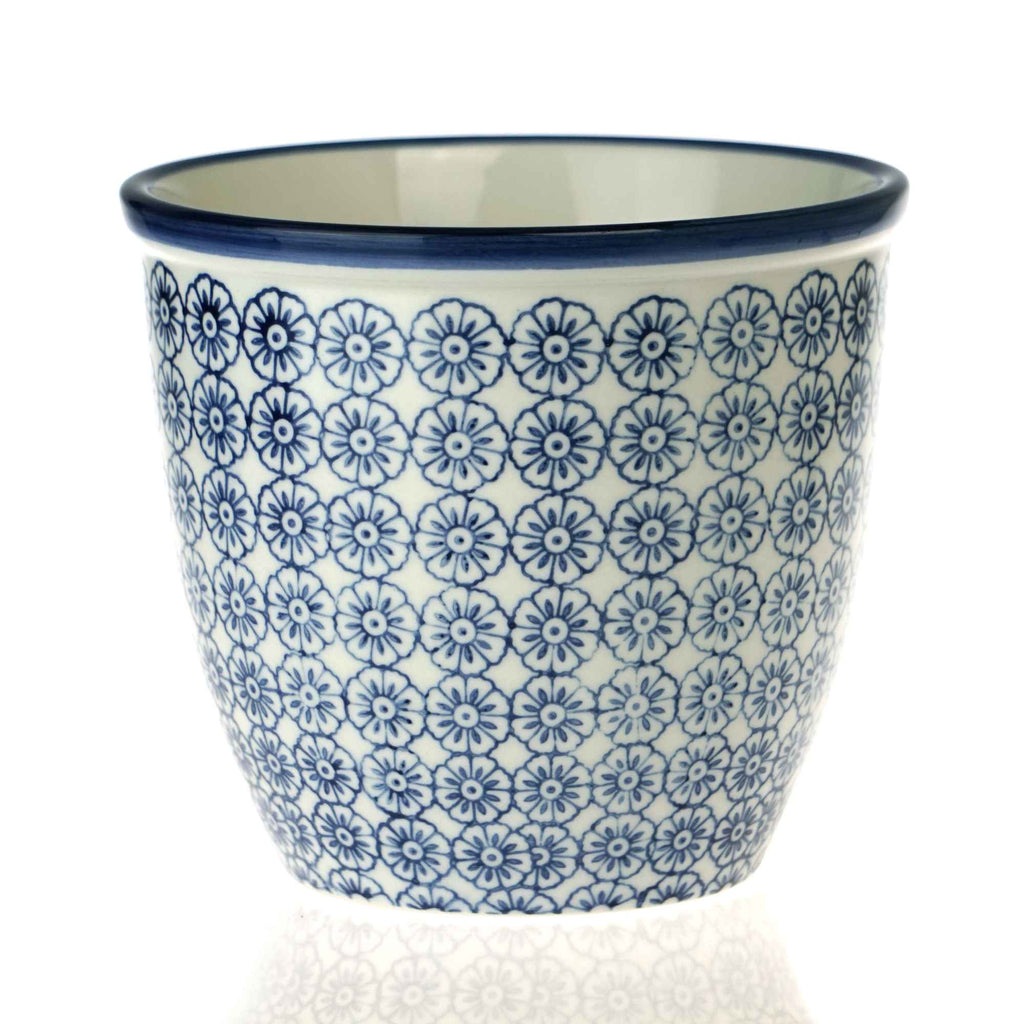 Nicola Spring Patterned Garden Plant Pot - Blue Flower