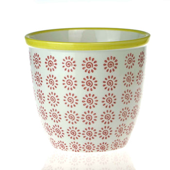 Nicola Spring Patterned Garden Plant Pot - Red and Yellow