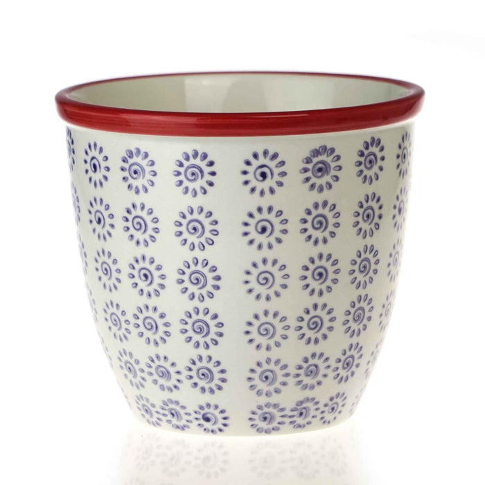 Nicola Spring Patterned Garden Plant Pot - Purple and Red