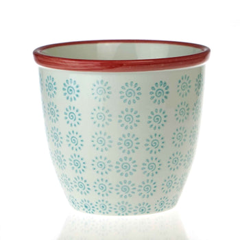 Nicola Spring Patterned Garden Plant Pot - Turquoise and Red