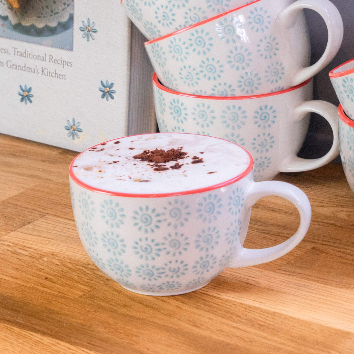 Nicola Spring Patterned Cappuccino and Tea Cup - 250ml - Turquoise And Red