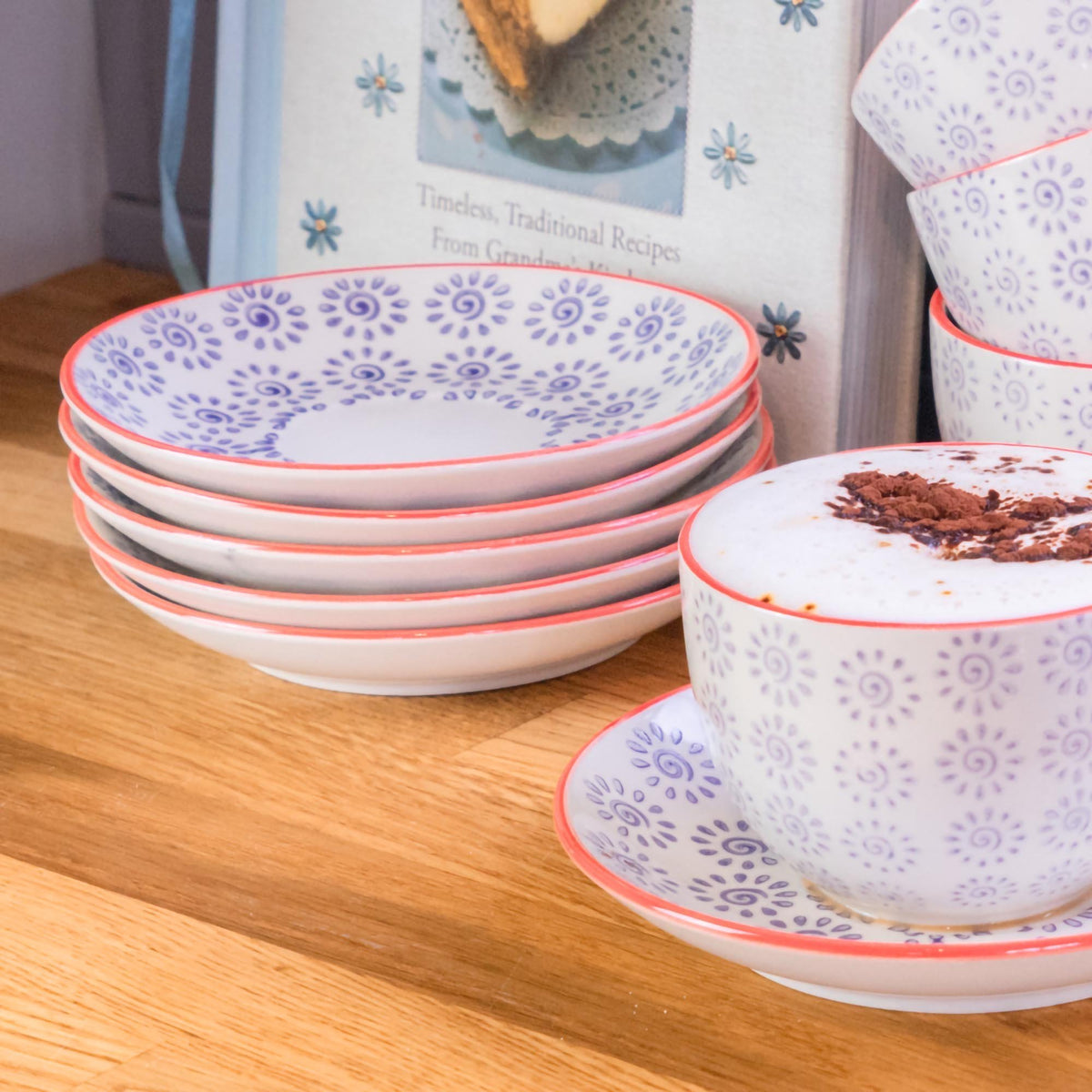 Nicola Spring Patterned Porcelain Saucer - Purple and Red