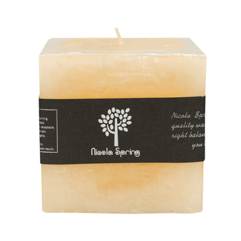 Nicola Spring Vanilla Scented Square Candle - Single Wick - 120hrs Burning Time