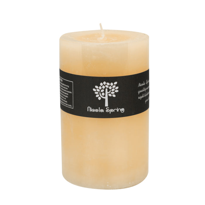 Nicola Spring Vanilla Scented Pillar Candle - Single Wick - 110hrs Burning Time