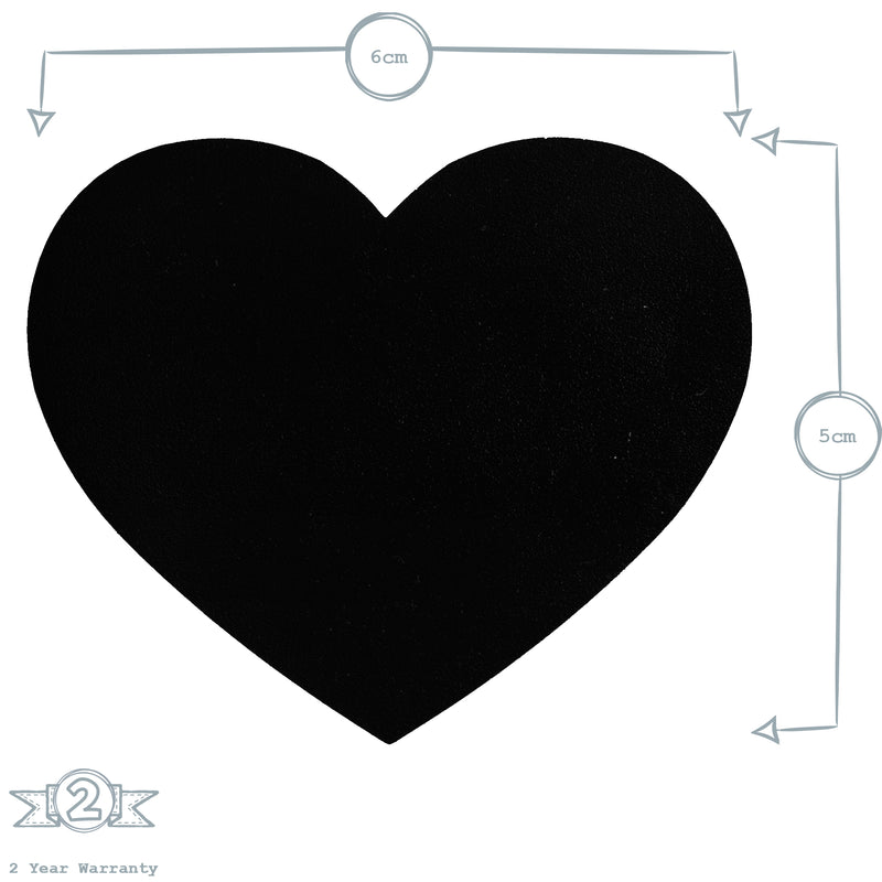 Set of 6 Glass Jar Chalkboard Labels - Heart - 6cm x 5cm