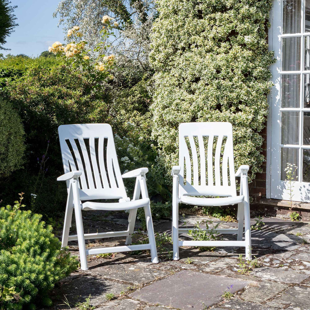 Resol Blanes Folding Multi-Position Garden Armchair - White Plastic