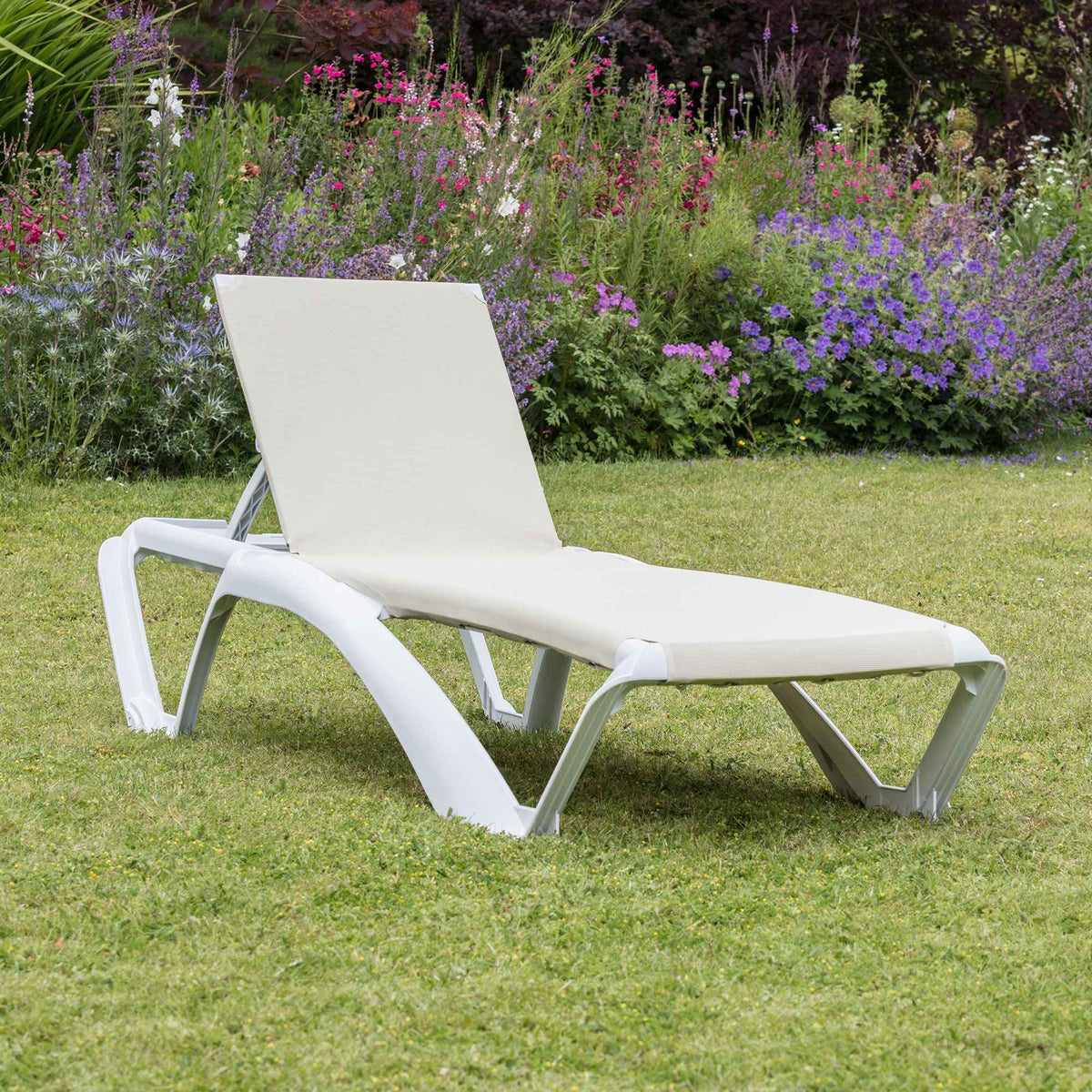 Resol Marina Sun Lounger - White Frame with Natural Canvas Material