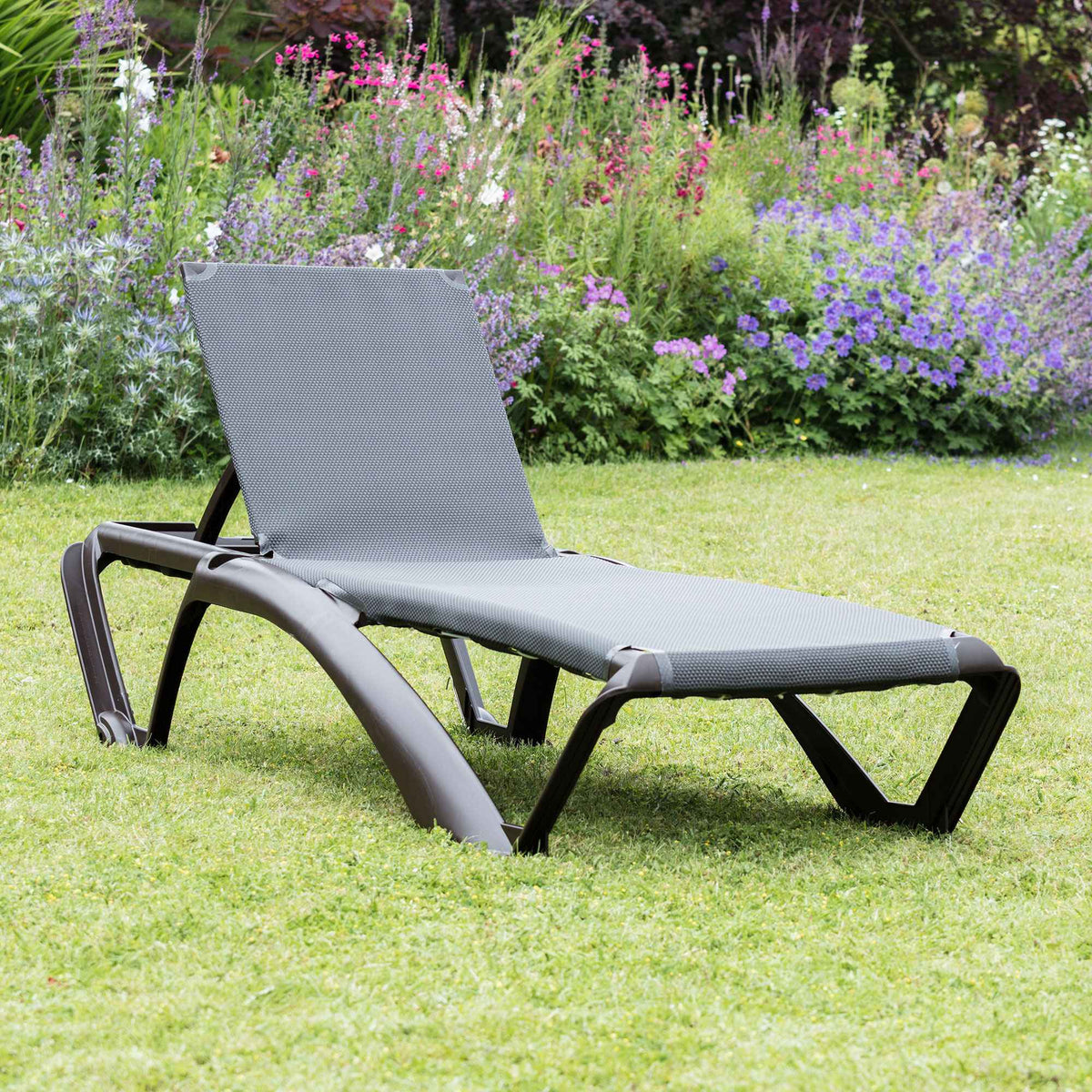 Resol Marina Sun Lounger - Chocolate Brown Frame with Brown Canvas Material