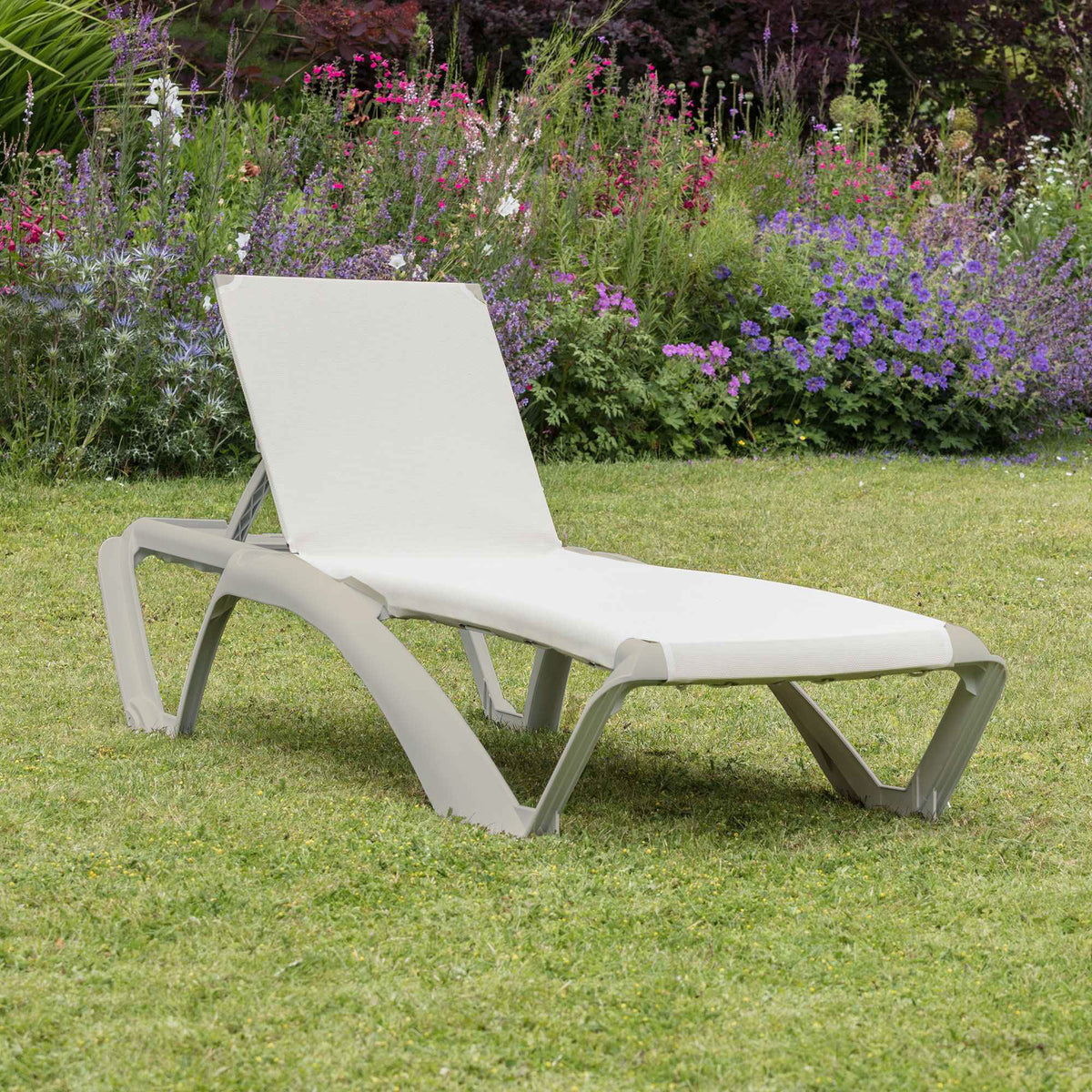 Resol Marina Sun Lounger - Ivory Cream Frame with Natural / Cream Canvas Material