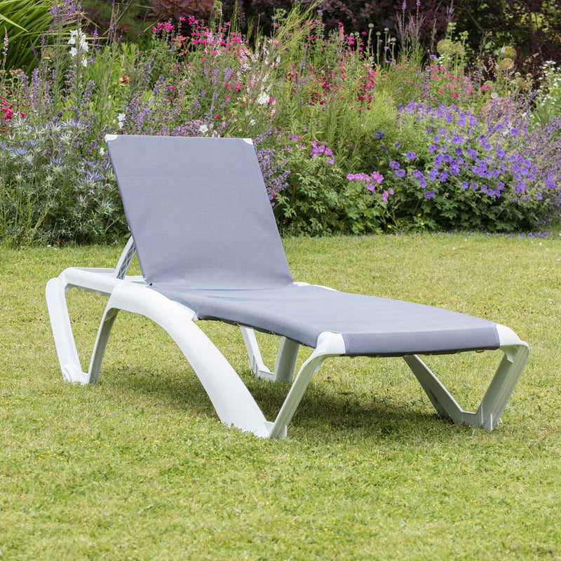 Resol Marina Sun Lounger - White Frame with Blue Jeans Canvas Material