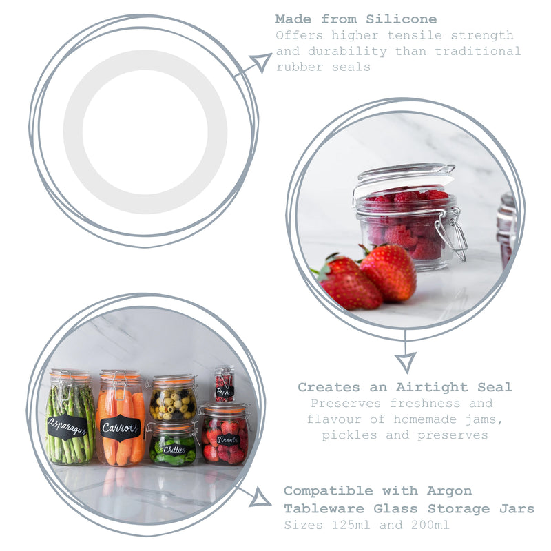 Argon Tableware Glass Storage Jar Seal - Clear - Medium