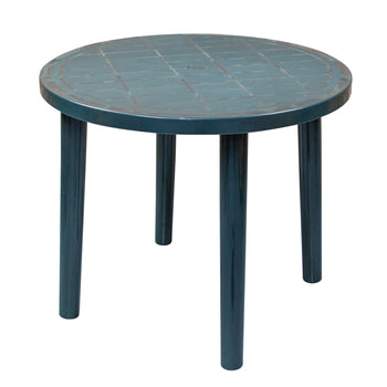Resol Tossa Outdoor Round Garden Table - Green Plastic - 86cm Diameter