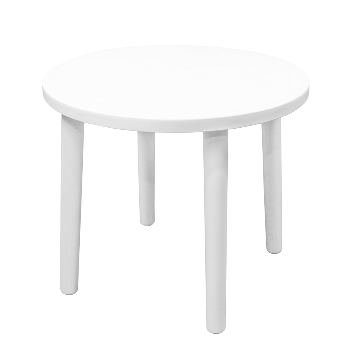 Resol Tossa Outdoor Round Garden Table - White Plastic - 86cm Diameter