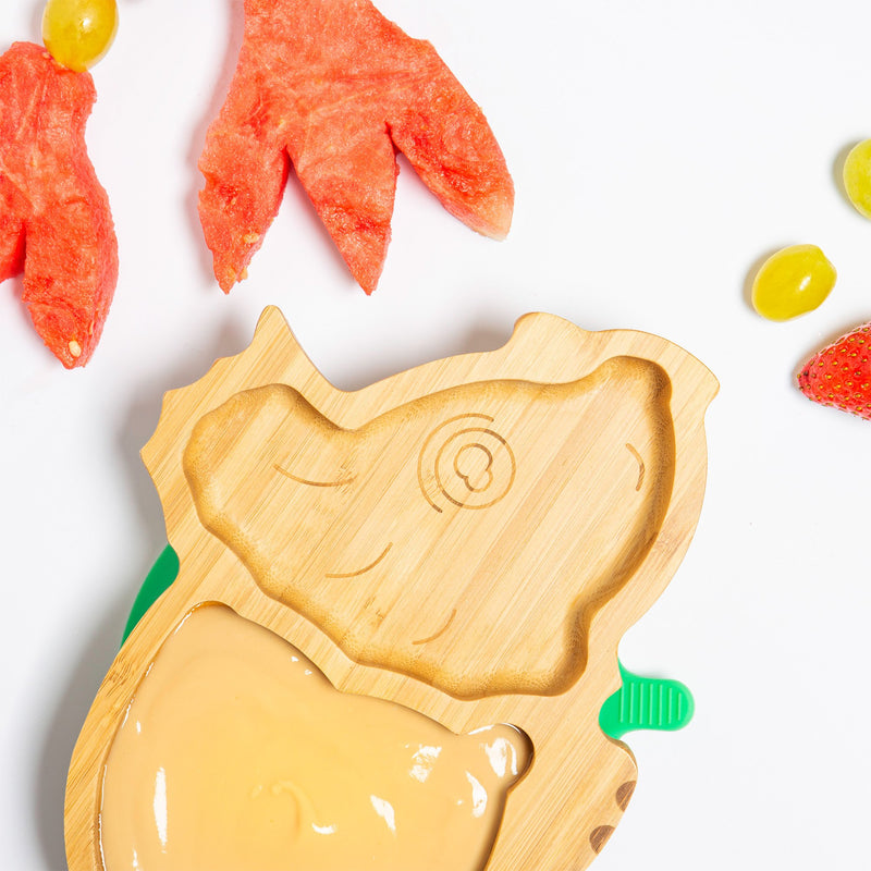 Tiny Dining Children's Bamboo Dinosaur Plate with Suction Cup - Yellow