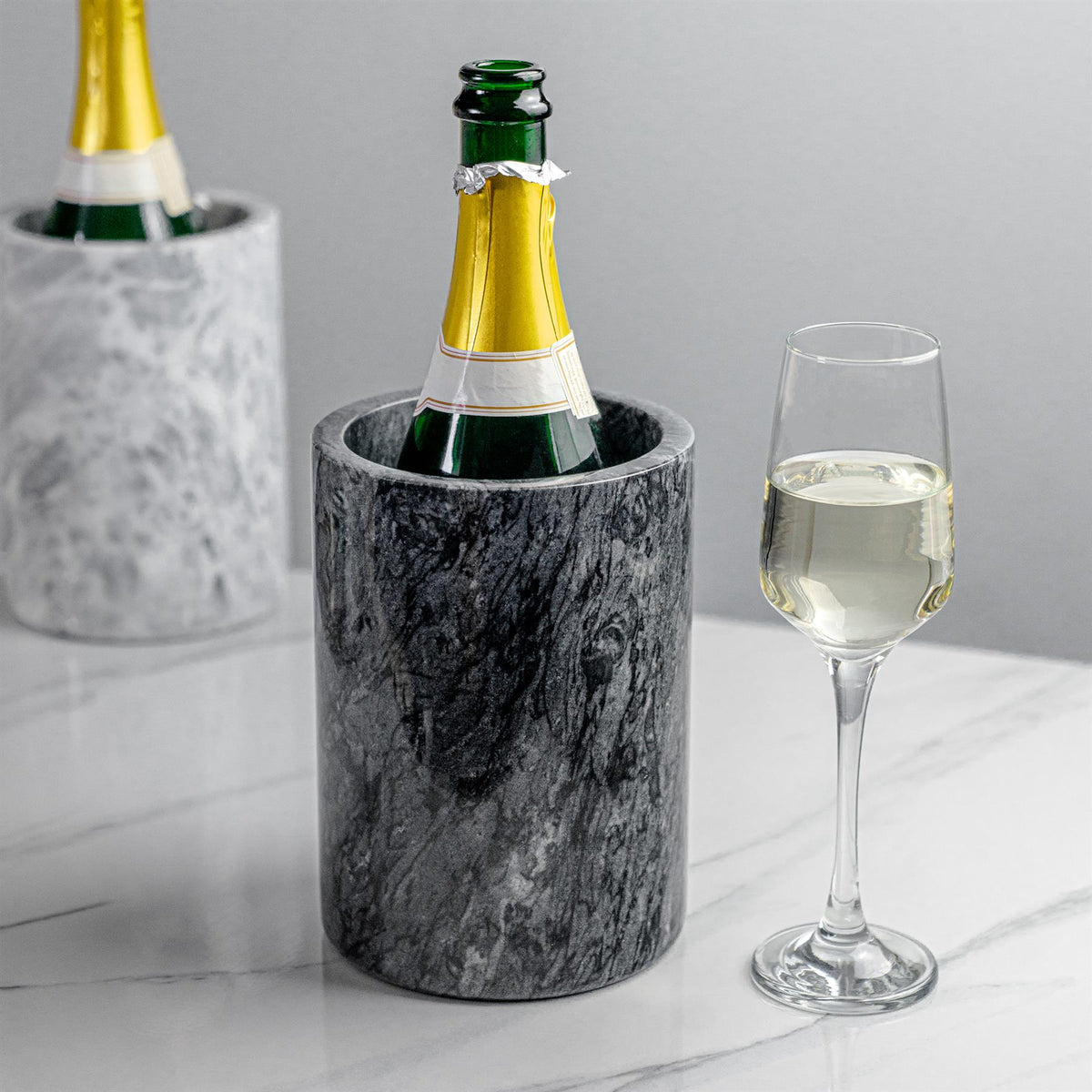 Argon Tableware Marble Wine Chillers in Black and Grey with White Wine Glass