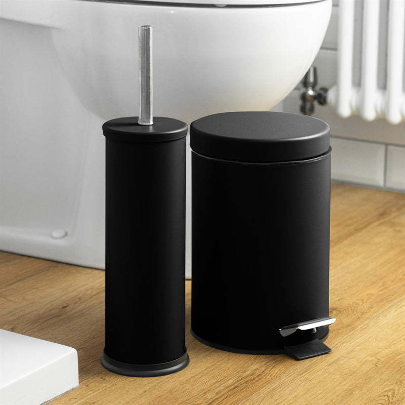 Harbour Housewares Steel Bathroom Toilet Brush & Holder - Black Matt