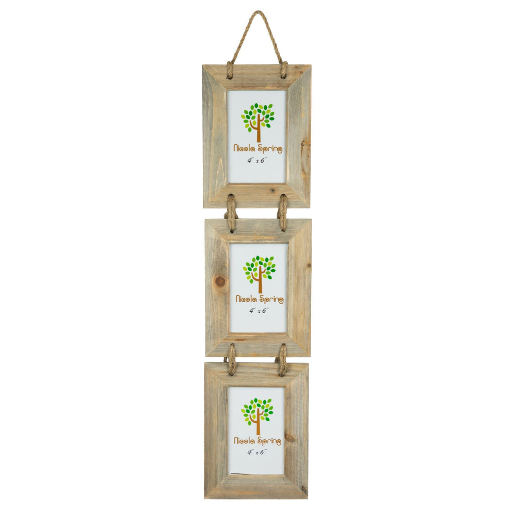 Nicola Spring Triple Wooden Hanging Picture Frame - 4x6