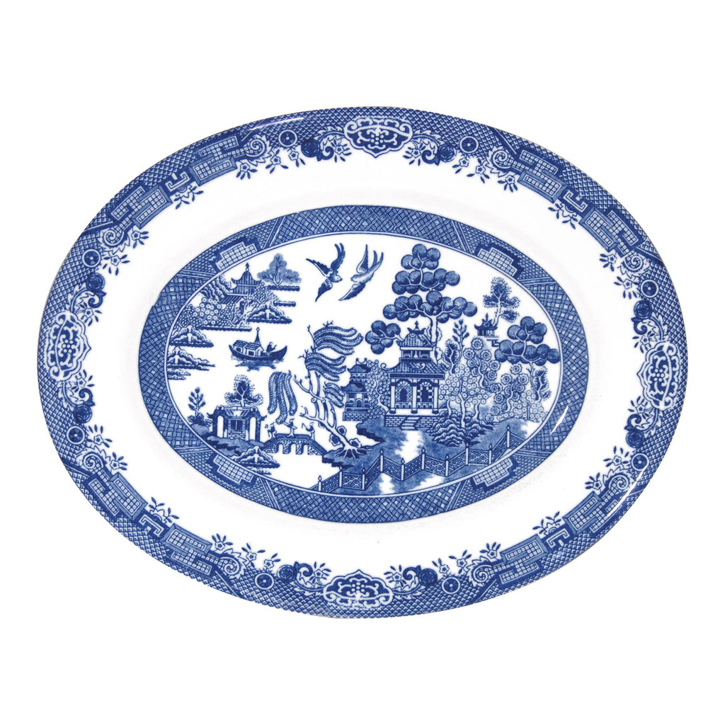 Churchill Blue Willow Georgian Serving Dish - 31cm - Blue