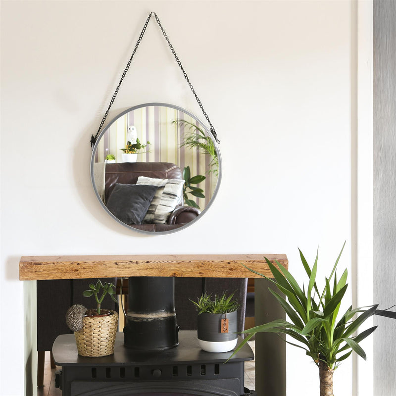 Harbour Housewares Round Framed Wall Mirror - Black Chain - 40cm - Silver