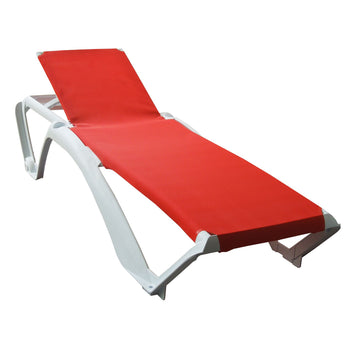 Resol Marina Sun Loungers X 2 - White Frame & Red Canvas