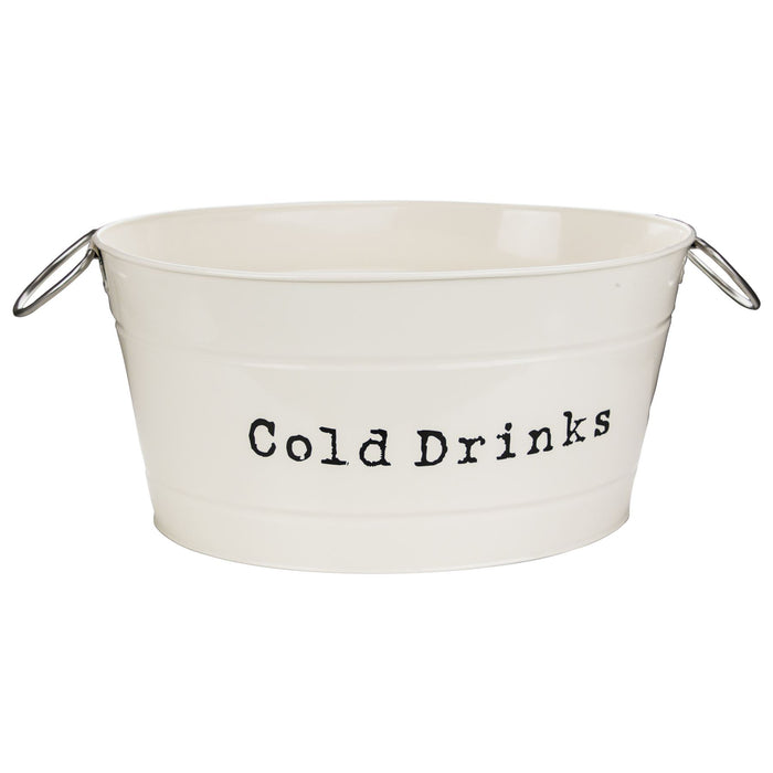 Harbour Housewares Vintage Style Metal Party Ice / Drinks Bucket - Cream 64cm