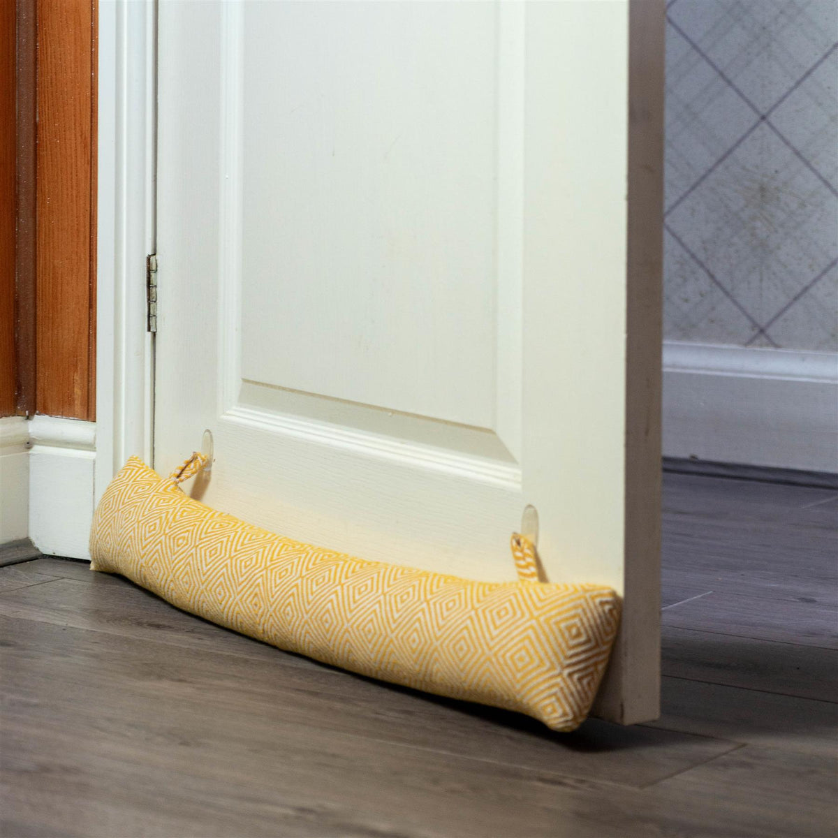 Nicola Spring Decorative Draught Excluder Yellow 80cm Interior Door Lifestyle