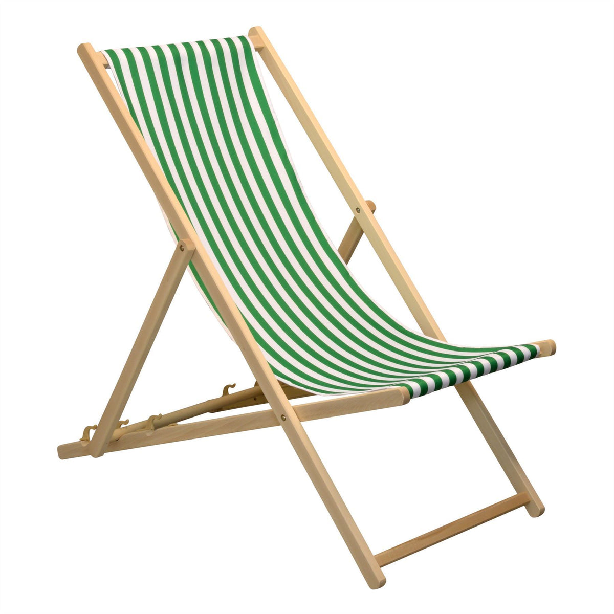 Harbour Housewares Beach Deck Chair - Green/White Stripe with Beech Wood Frame