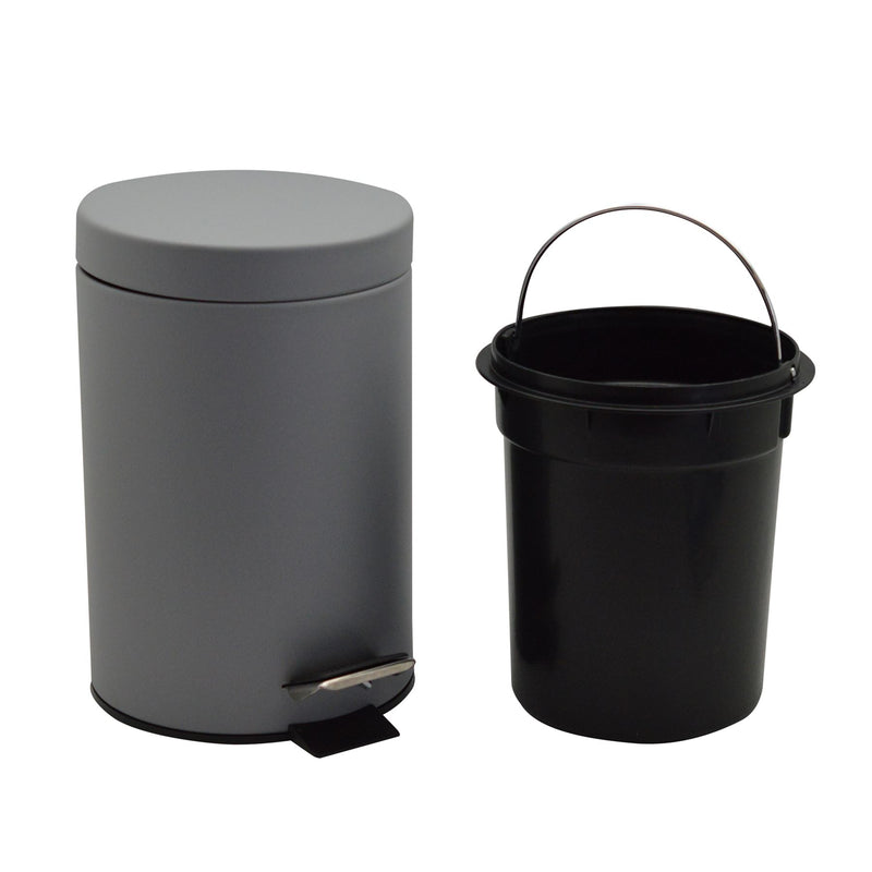 Harbour Housewares 3 Litre Bathroom Pedal Bin With Inner Bucket - Grey Matte