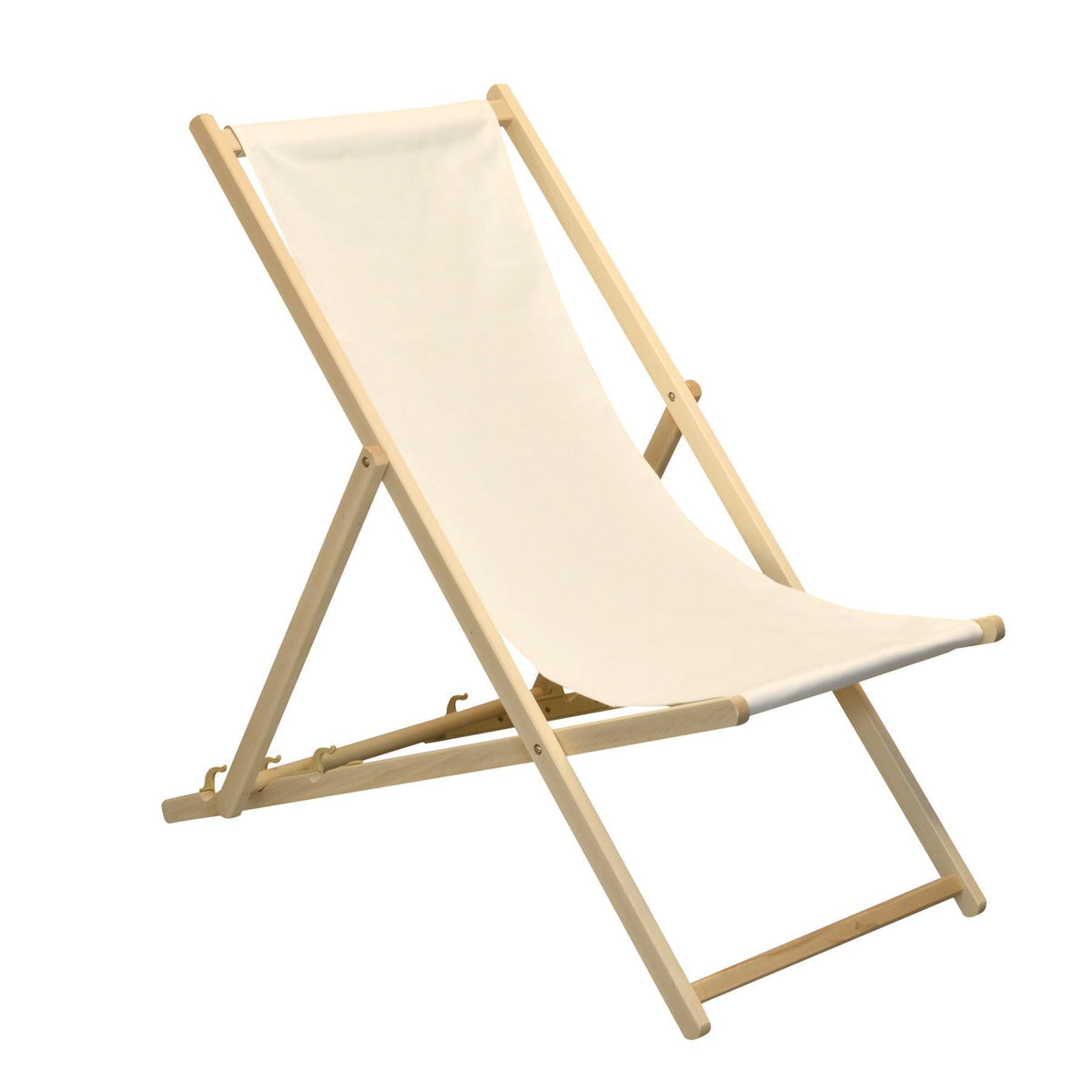 Enjoy the outdoors with the Harbour Housewares Beach Deck Chair - Cream with Beech Wood Frame