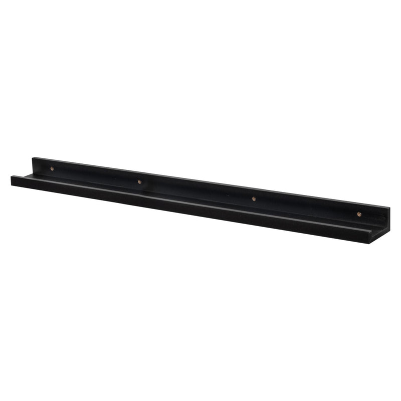 Harbour Housewares Wooden Wall Picture Ledge Shelf Shelves - 91.5cm - Black