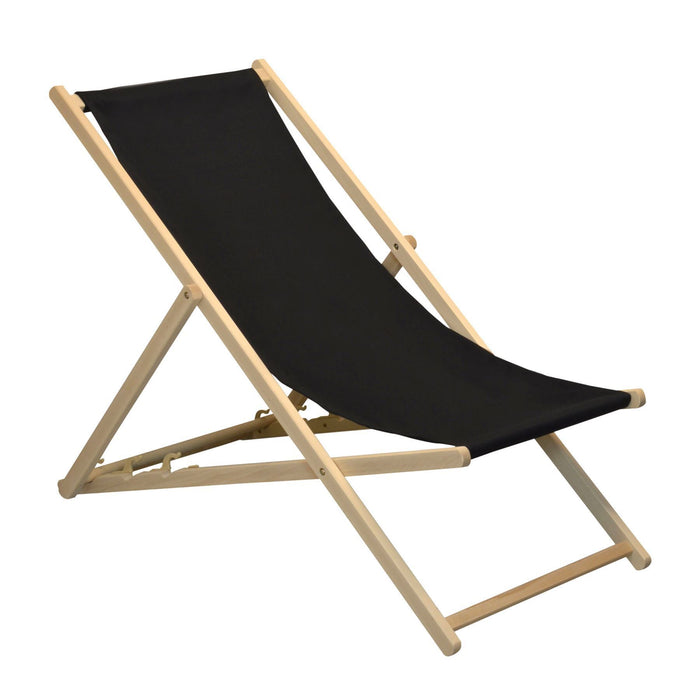 Harbour Housewares Beach Deck Chair - Black with Beech Wood Frame