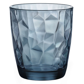 Bormioli Rocco 6 Diamond Glass Whiskey Glasses - Blue - 390ml