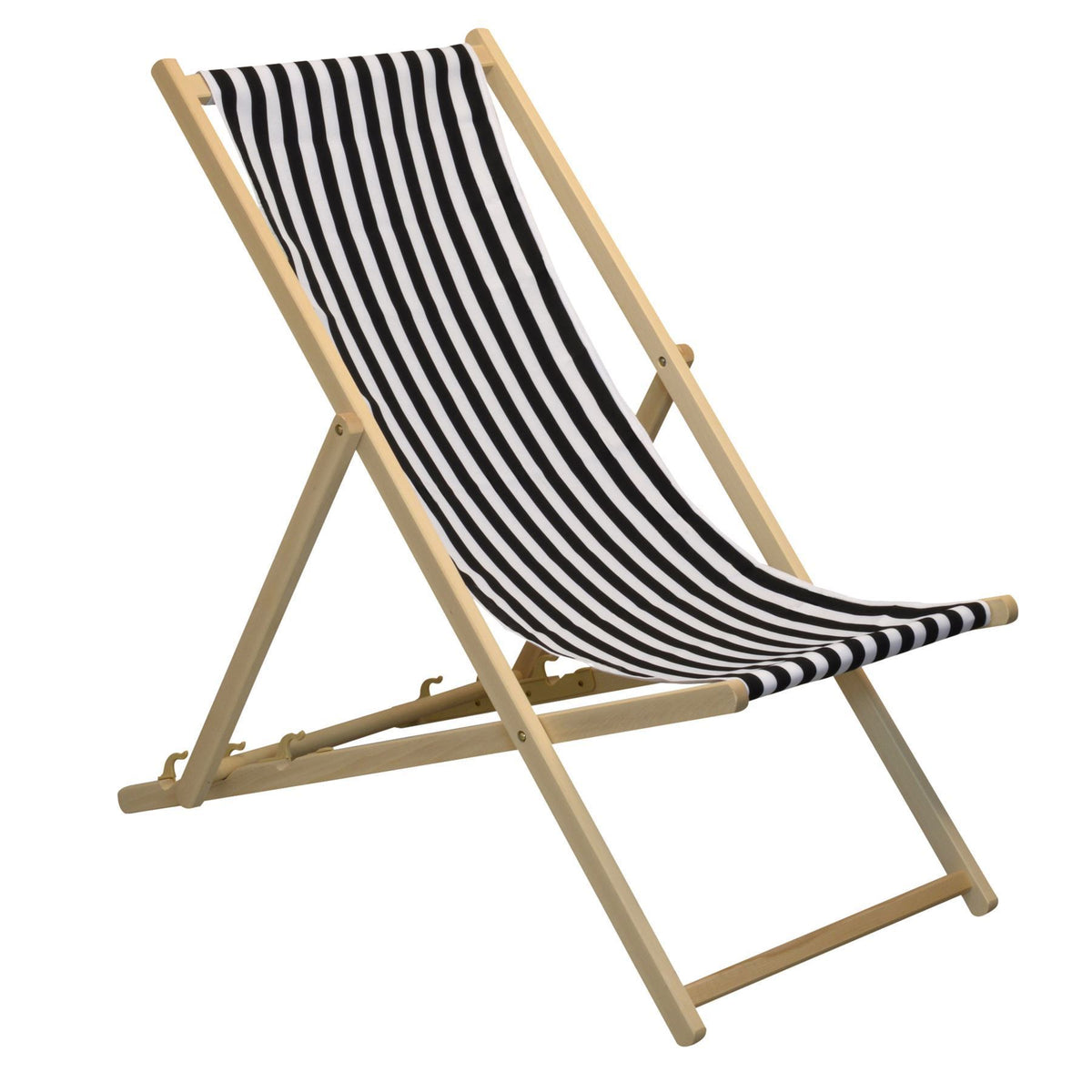 Harbour Housewares Beach Deck Chair - Black/White Stripes in Garden