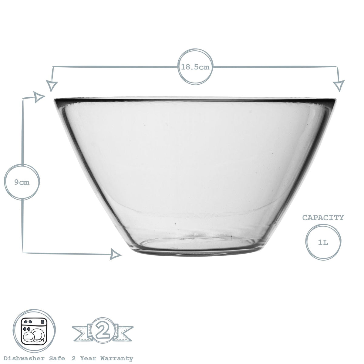 Bormioli Rocco Basic Glass Kitchen Mixing Bowl - 1L