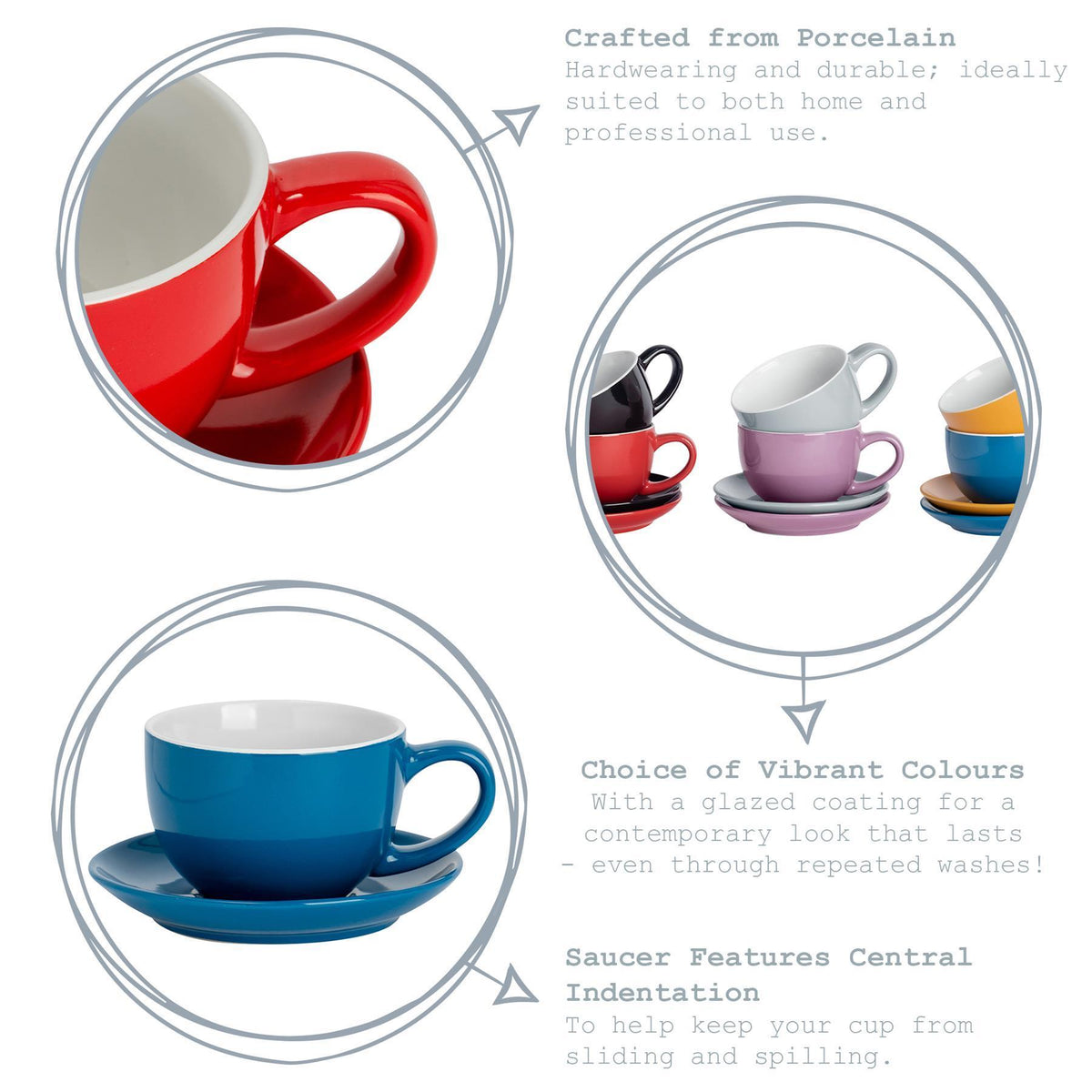 Argon Tableware Coloured Cappuccino Cup - Yellow - 250ml Key Features