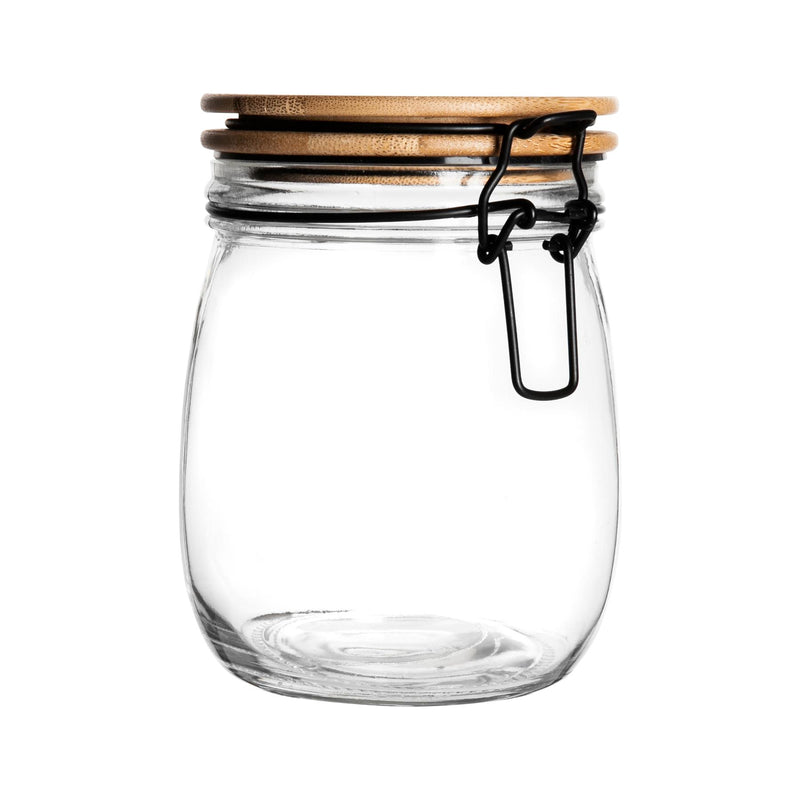 Argon Tableware Airtight Storage Jar with Wooden Lid - Black Seal - 750ml
