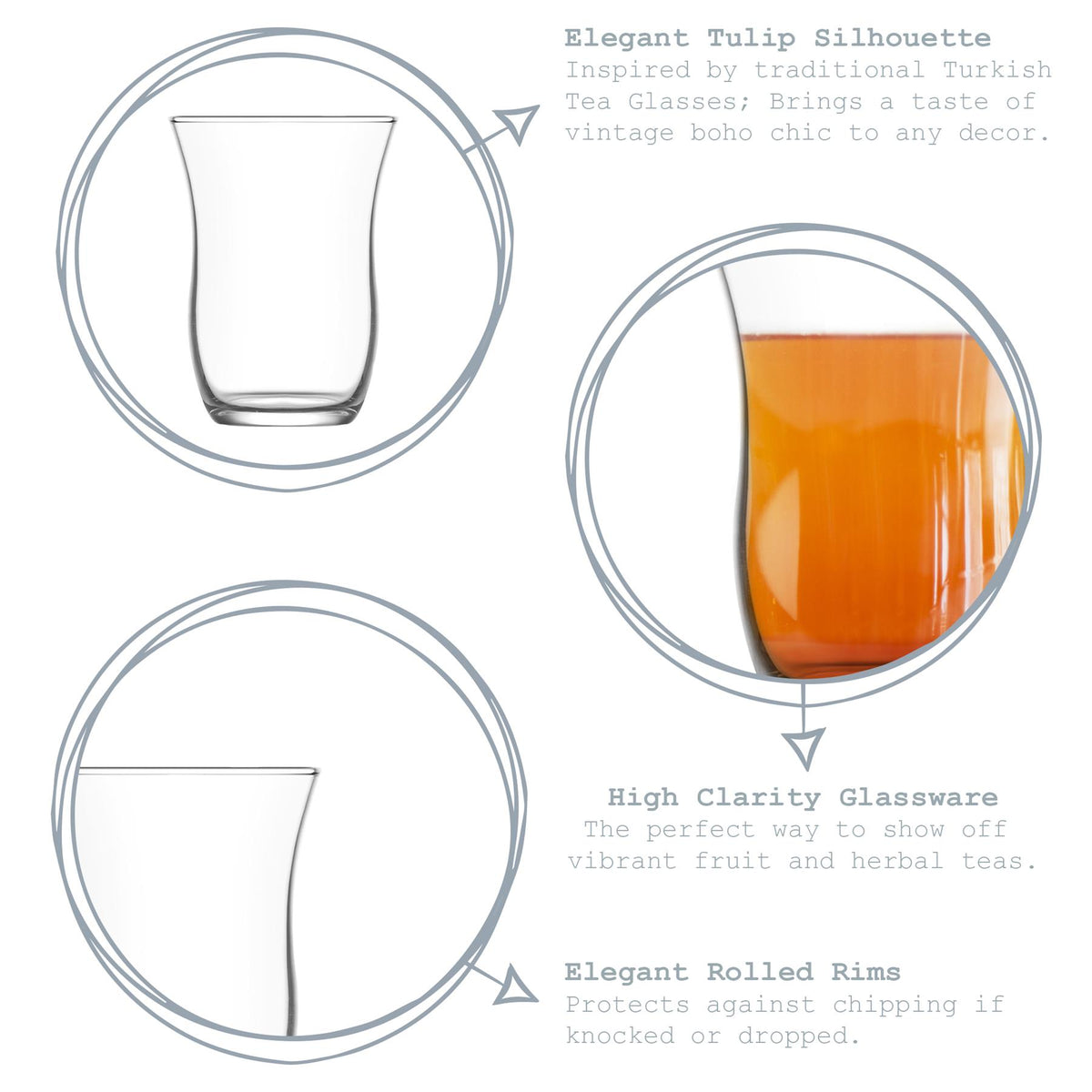LAV 6pc Harman Glass Tea Cup Set - Clear - 95ml