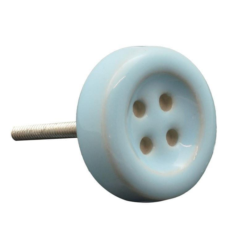 Nicola Spring Ceramic Cupboard Drawer Knob - Blue Button