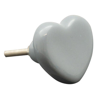 Nicola Spring Ceramic Cupboard Drawer Knob - Grey Heart