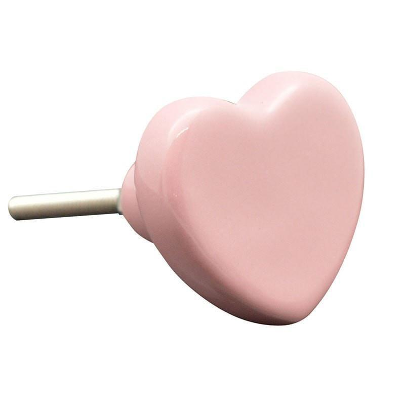 Nicola Spring Ceramic Cupboard Drawer Knob - Pink Heart