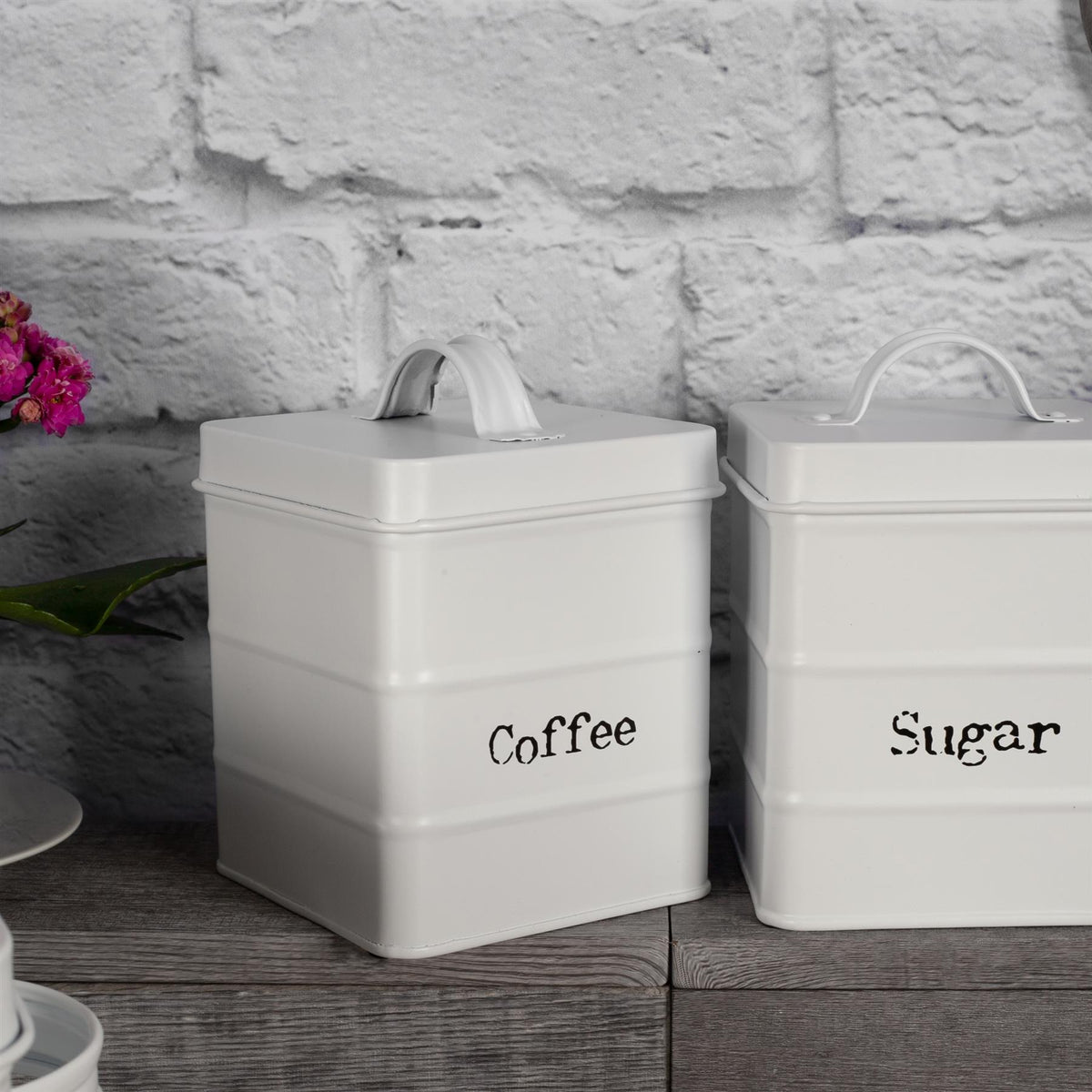 Harbour Housewares Vintage Coffee Storage Canister - Matte White