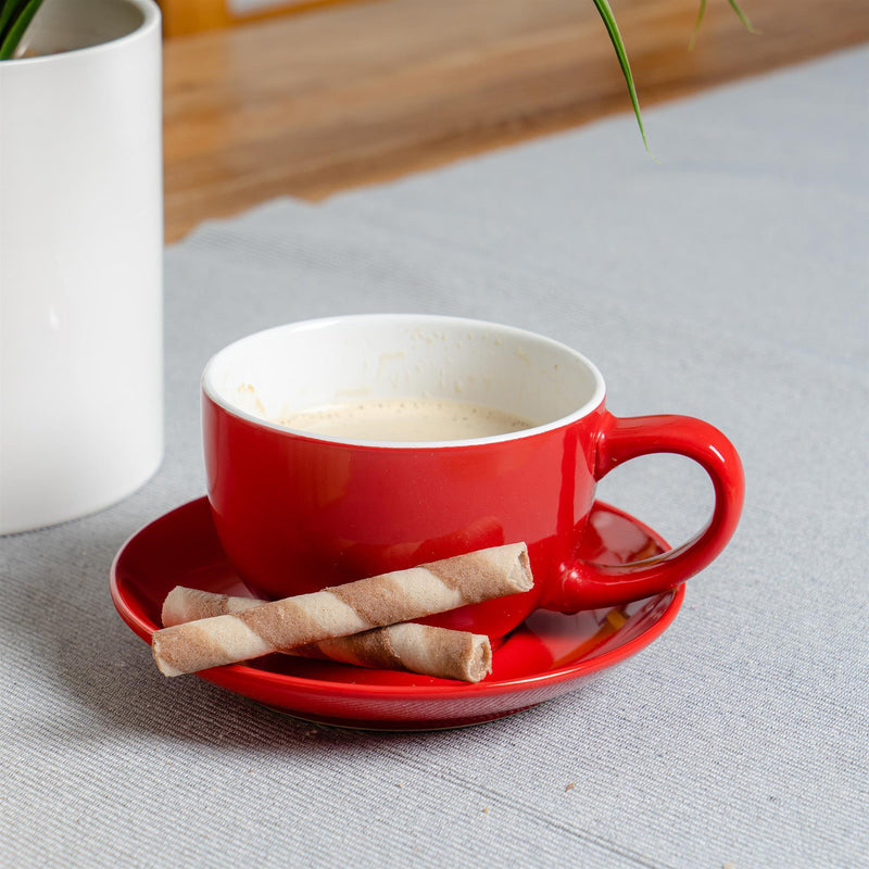 Argon Tableware Coloured Cappuccino Cup - Red - 250ml on Dining Table