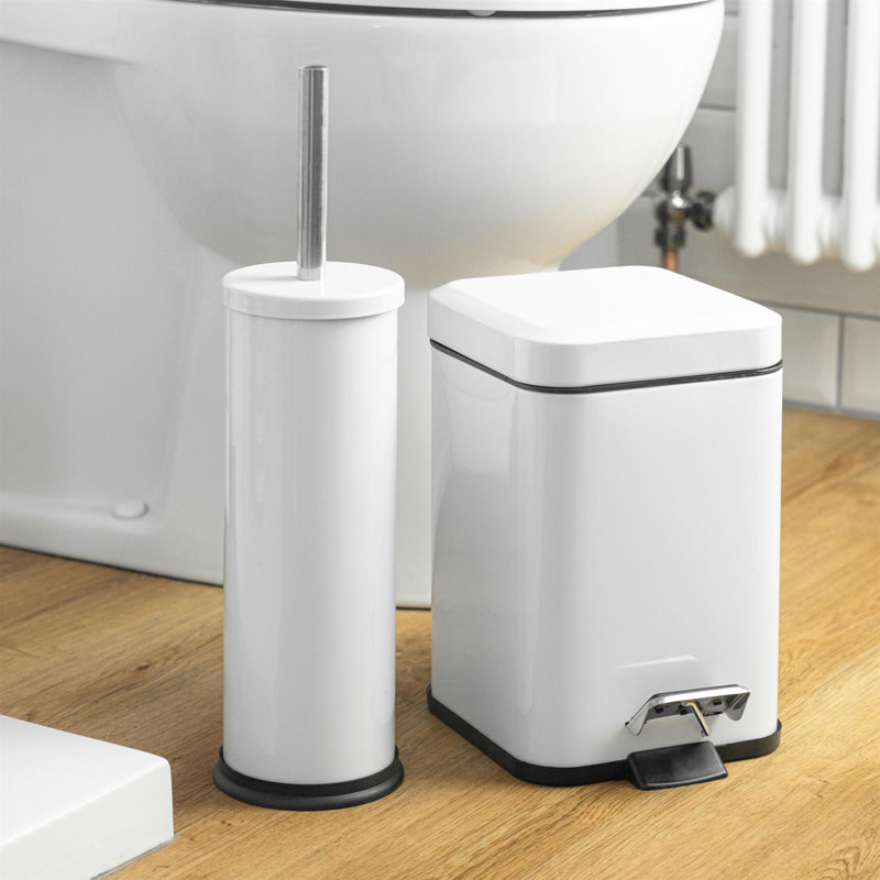 Harbour Housewares Bathroom Toilet Brush & Holder Set - White