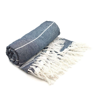 Nicola Spring Round Turkish Beach Towel - Navy