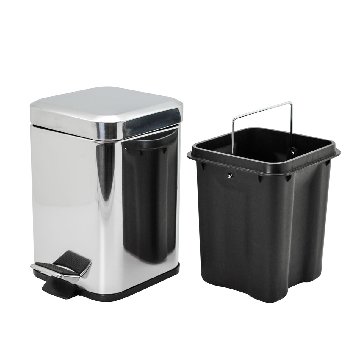 Harbour Housewares Square Steel Bathroom Pedal Bin - 3 Litres - Chrome
