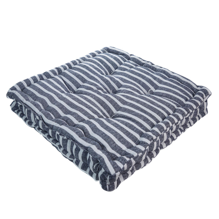 Nicola Spring French Mattress Dining Chair Cushion - Blue Stripe