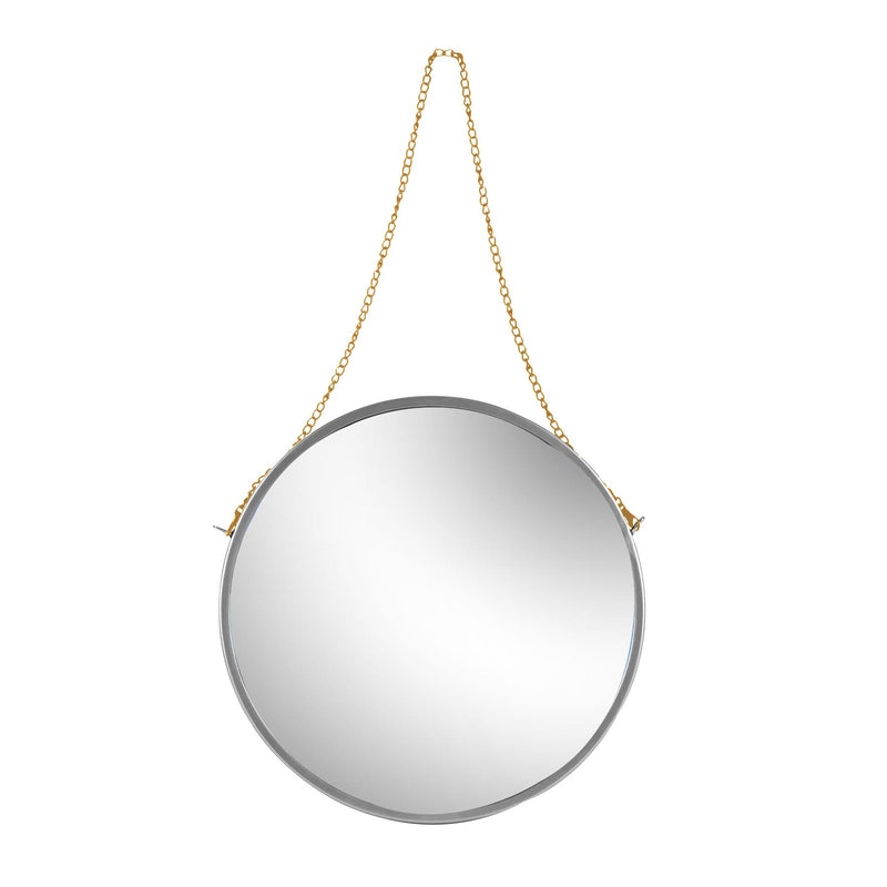 Harbour Housewares Round Framed Wall Mirror - Gold Chain - 40cm - Silver