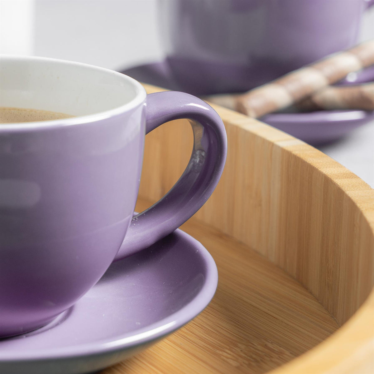 Argon Tableware Coloured Cappuccino Cup - Purple - 250ml Detail